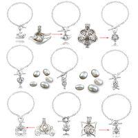 Pearl Oyster Charm Bracelets Silver Pearl Cage Pendant Essential Oils Diffuser Locket Bracelet Elegant Women Jewelry