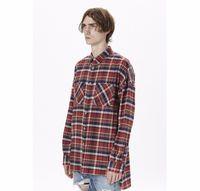 flanell s großhandel-US Hip Hop Hemden Die beliebtesten Justin Bieber Angst vor Gott Nebel Männer Unisex Flanell Langarm Plaid Oversized Dress Shirt in Rot