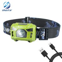 Wholesale l torch online - Body Motion Sensor Headlamp Induction USB Rechargeable Headlight Switch Modes Head Flashlight Torch lamp For Camping USB cable