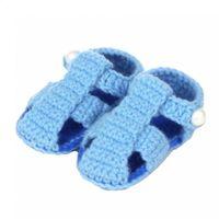синие зеленые носки оптовых-Cute footwear Shoes Woolen shoes Knit Girls kids Yellow,Green,Blue children Infant Sock Crib Boys Crochet for Handmade Baby