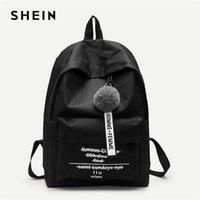 mochilas modernas mujeres al por mayor-SHEIN Black Pom Pom Decor Mochila Modern Lady Detail Zipper Cute Bags Mujeres Letter Print Nuevas mochilas de moda