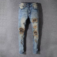 Wholesale men jeans thickening - SS18 HOT New Arrive Skinny Water wash Motorcycle Jeans Desinger AM527-AM527-1 in single cow thickened Slim paris quality plugs Men jeans