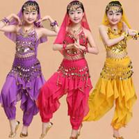 traje indiano crianças venda por atacado-Conjuntos de Traje de Dança do Ventre menina Crianças Vestido de Dança Indiano Criança Trajes de Bollywood para o Desgaste do Desempenho Da Menina 6 Cores
