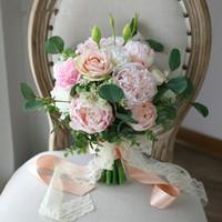 blumenstrauß boutonniere großhandel-JaneVini Silk Brautstrauß aus künstlichen Blumen Champagner rosa Rose Pfingstrose Hochzeit Braut Blumenstrauß Braut Band Boutonniere Mariage
