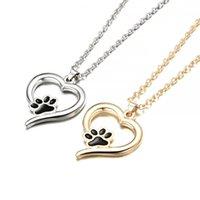 joyas conmemorativas regalos al por mayor-Moda Lindo Paw Heartbeat Imprimir Amor Corazón Collar Colgante Joyería Mascota Perro Gato Memorial Amantes Regalo