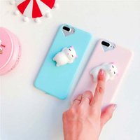 Wholesale lovely cat iphone for sale - Lovely D Cartoon Cute Cat Candy Color Case For iPhone s Plus Phone Cases Soft TPU Cover Stress Reliever Shell Capa