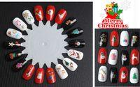 klebe nagelfolie großhandel-Großhandel - 24 Teile / los 3D Weihnachten Designs Nail Art Sticker Aufkleber Folienkleber Maniküre Tipps Nail Decoration Makeup Tools