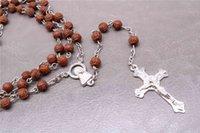 perlenkette jesus großhandel-48 Stück / katholische Rose Resin Rosenkranz Halskette, Jesus Mitgefühl heilige Ikone religiöse Halskette 6mm