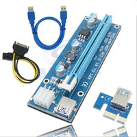 adaptador elevador pci e 1x al por mayor-DHL PCI-E Riser para Bitcoin 6 PIN 16x a 1x Adaptador de Riser con alimentación 6-Pin PCI-E a SATA Cable de alimentación GPU Adaptador de Riser