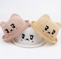 Wholesale boys straw hat - 2018 children's straw hat summer baby travel cartoon visor hat boys and girls cute dome straw breathable kids cap