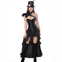 burlesque kleider korsetts großhandel-Corzzet Sexy Burlesque Steampunk Schwarzes Leder Korsett Kleid Vollbrust Korsetts und Bustiers mit gelegten Rock