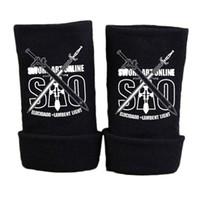 Wholesale art online prints - Fashion Anime Sword Art Online SAO Glove Winter Cartoon Half Finger Print Black Gloves Mitten Unisex Cosplay Gift