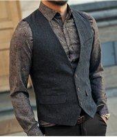 casaco de lã britânico venda por atacado-Mens Cotton terno formal Coletes Vestido Botão Vest Magro Três lã Vest Homens sem mangas Casual Jacket Brasão britânica Autumnn Suit Vest