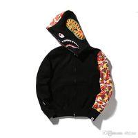 Wholesale long coats for men sale - Hot Sale Men Shark Head Printed Jacket Long Sleeve Casual Hoodies Winter Sweatshirts Coat For Men Grey Black Plus Size 2XL