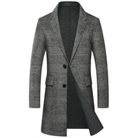 marke grabenwolle großhandel-Plaid Men Winter Jacke lange Mäntel 50% Real Merino Wool Mens Wollmantel Dicke formale Umlegekragen Trench Blend Coat Marke