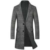 брендовая шерсть оптовых-Plaid Men Winter Jacket Long Overcoats 50% Real Merino Wool Mens Wool Coat Thick Formal Turn Down Collar Trench Blend Coat