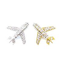 placa retráctil carrete china al por mayor-40mm Cheap Silver Gold Plating Rhinestone Encrusted Pin Clear Crystal Airplane Pin Brooch for Men Plane