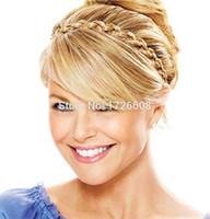 sentetik saç kafa bantları toptan satış-Yeni Yıldız 'Çarpıcı Örgülü Kafa Sentetik Peruk Boho Örgü Postiş Koyu Sarışın Saç Örgüler Kadınlar Örgü Saç Aksesuarları