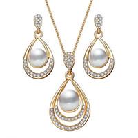 sistemas de la joyería de cristal de la boda al por mayor-Moda color oro gota de agua simulado perla collar de cristal aretes de joyería conjunto para mujeres joyería de la boda del partido
