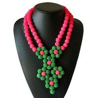 conjuntos indianos da jóia da pérola venda por atacado-Mulheres indianas Hot Wedding Jewelry nigeriano pérola conjuntos de jóias traje rosa e verde contas africanas conjunto colar de jóias Novo