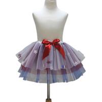 ingrosso gonne di tutu blu royal-4 luglio New Royal Blue Red White Girls Gonna con gonna a zampa di moda colorata per bambini Tulle Dance Girls Tutu