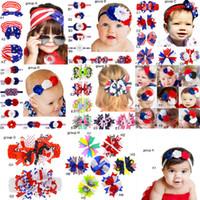 abd baş bandları toptan satış-11 Gruplar 4 Temmuz ABD Bağımsızlık Günü Bebek yıldız şerit ulusal bayrak ilmek Headbands 11 Tasarım Kızlar Güzel Sevimli Saç aksesuarı