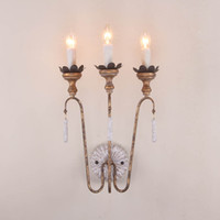 Wholesale French Vintage Art - Personality American retro old wood art wall lamp Nordic garden wrought iron French candle crown bedroom bedside lamp