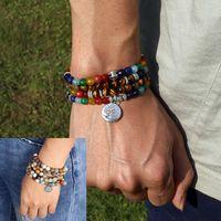 ingrosso braccialetto di natale in rilievo-Tree Life 7 Chakra A Tiger Eye Beaded Bracelet Unisex Regalo di Natale Capodanno Mala 108 Buddha Healing Man Stone Beaded Bracelet