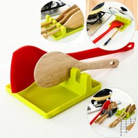 Wholesale spoon holders resale online - New Kitchen Utensil Rest Spoon Pot Pan Lid Pot Shovel Holder Food Grade Silicone Tools Shelf Gray and Green HH7