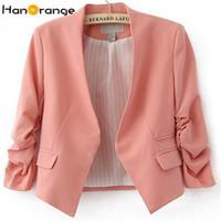 rosa koreanische jacke großhandel-HanOrange Frühlings-Sommer-Taschen-koreanische OL Büro-Dame-Frauen-Kurzschluss-Blazer-Jacken-Rose / Himmel-Blau / Rosa S / M / L / XL / XXL