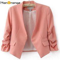 jaqueta rosa coreana venda por atacado-HanOrange Primavera Verão Bolso Coreano OL Escritório Senhora Mulheres Blazer Curto Casaco Rosa / Azul Céu / Rosa S / M / L / XL / XXL
