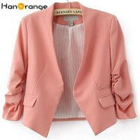 ingrosso giacca coreana rosa-HanOrange Spring Summer Pocket coreano OL Office Lady donna giacca corta Blazer Rose / Sky Blue / rosa S / M / L / XL / XXL