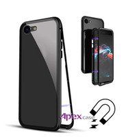 Wholesale metal phone cases online - Magnetic Adsorption Tempered Glass Phone Case For iPhone X XR XS MAX Samsung S8 S9 Plus Note Metal Frame