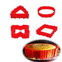 schimmel für kuchen quadrat groihandel-4pc / set Kreative Backen Schlange Kochen Moulds-Kuchen-Form DIY Silikon-Kuchen-Backen-Quadrat-runde Form-Form-Magie Bakeware Werkzeuge Freies Verschiffen