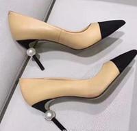 ingrosso pantofole nero-Pantofole in pelle da donna con tacco alto e perle nere di lusso di marca sandali neri beige con tacco a spillo da passerella, scarpe da ballo donna, spedizione gratuita