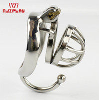 Wholesale testicular toys online - New Arrival Super Small Male Chastity Device Sex Toys For Men Cock Cage With Testicular Separated Hook Cock Peins Ring