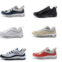 Wholesale Bullet Rivets - Wholesale Airs 98 OG Gundam Red Blue Silver Bullet Men Sneakers 2018 White Running Shoes Fashion Retro Brand Sports Sneaker