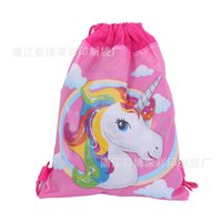Wholesale candy wall - 12pcs Unicorn,Tangled Cartoon Non-woven fabric Drawstring bag Kids back to school Gift birthday party Favor