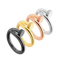 rosé vergoldeter edelstahl großhandel-Mode trendy berühmte Marke 316L Edelstahl Liebhaber Ring Stud Bohren Ringe Gold Roségold Silber schwarz überzogen für Frauen Männer Großhandel
