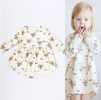Wholesale Glass Bow Tie - Ins Girls Fox Glasses Dresses Bow Tie Printed Long Sleeve Knee-Length A-Line Cotton Infant Toddler Baby Casual Fashion Princess Cloth 6M-4T