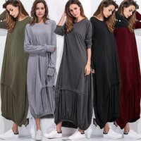 Wholesale One Lantern - Lady fashion solid color panelled loose long lantern sleece big code large size plus size women casual one piece long dress