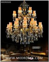 arañas de cristales antiguos al por mayor-Lámpara grande de 3 niveles, 24 brazos, lámpara de araña de cristal, latón antiguo, lujosa lámpara de brillo de cristal, MD8504-L24 D1150mm, H1400mm