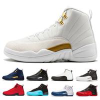 hommes français chaussures noires achat en gros de-Nouveaux hommes 12 chaussures de basket-ball Taureaux UNC Michigan blanc noir gamma Français bleu TAXI Flu Game Playoffs le maître Sports Sneakers taille 41-47