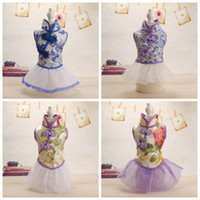 Wholesale dog dresses size small - Small Size Dog Cheongsam Design Cloth Fashion Breathable Poodle Wear Skirt Retro Style Pets Tang Costume Apparel 18md Z