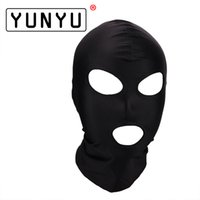 Wholesale mask sex parties resale online - Fetish Mask Hood Sexy Toys Open Mouth Eye Bondage Hood Party Mask Cosplay Slave Headgear Mask Adult Game Sex Products Style Y18102405