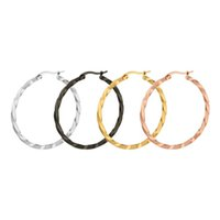 Wholesale Twisted Gold Plated Hoop Earrings - Fashion Cute Twist Distort Rounded Big Hoop Earrings for Women Gold Silver Black Stainless Steel Fashion Jewelry Earrings 6 size