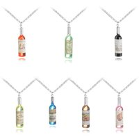 Wholesale beer bottle charms - New Simulated Beer Bottle Pendant Necklace for Women Men Wedding Party Fashion Jewelry Resin Bottle Necklack Sale Promotion 380005