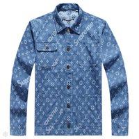chaquetas largas de mezclilla para hombre al por mayor-Nuevos chaquetas de diseño para hombre de lujo con letras florales patrón denim chaqueta de manga larga cuello de soporte para hombre chaqueta