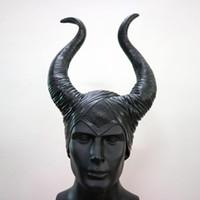 cosplay uyku güzellik kostümü toptan satış-Maleficent Boynuzları Şapka Kask Başkanı Kapak Bar Öküz Boynuz Maskesi Cosplay Uyku Güzellik Cadı Cadılar Bayramı Partisi Kostüm Başlığı Şapka Kap 21py gg