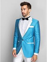 blaue glänzende hose großhandel-Beliebte Design One Button Shiny Sky Blue Hochzeit Bräutigam Smoking Kerbe Revers Groomsmen Mens Dinner Blazer Suits (Jacket + Pants + Tie) NO: 1669